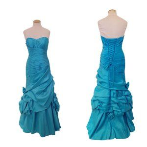 Mori Lee Strapless Turquoise Lace Up Gown- Sz. 5/6